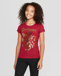 Girls#x27; Harry Potter Gold Gryffindor Lion Graphic Short Sleeve Shirt NWT $9.99