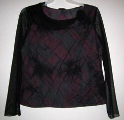 TRIBAL Black Tie Dye Sheer Net Sleeve Stretch Ruffle Trim Applique Top Shirt L