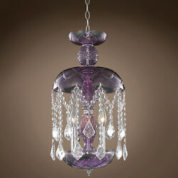Harvest Design 3 Lt 11quot; Purple Chandelier With Clear Asfour Crystals amp; Led Bulbs $305.00