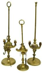 Antique Lamps Whale Brass Oil Set of 3 Awesome 2 Electrified Need Wiring $368.91