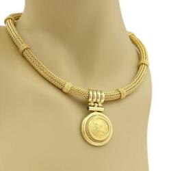 18k Yellow Gold Sapphire Greek Figure Round Pendant Weave Tube Necklace 112gr