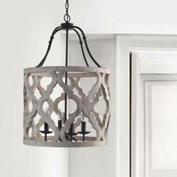 Vintage Distressed White Carved Wood 4-Light Lantern Lamp Chandelier Lighting UL $246.99