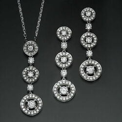 3 34 CT ROUND NATURAL GENUINIE DIAMOND EARRINGS + PENDANT SET 18K WHITE GOLD SI