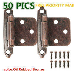 25 Pairs 50pcs Self Closing OVERLAY Flush Cabinet Hinges Oil Rubbed $21.33