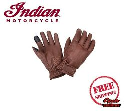 GENUINE INDIAN MOTORCYCLE MEN#x27;S GETAWAY LEATHER RIDING GLOVES BROWN NEW $69.99