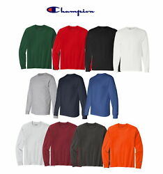 Champion Men#x27;s 100% Cotton Tagless Long Sleeve T Shirt CC8C Pick Size amp; Color $13.99