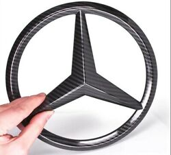 1x Black Carbon Fiber Grille Emblem Star Badge Logo for Mercedes Benz C E GLK GL $15.99