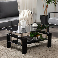 Black Highlight Glass Coffee Table End Side Table w Shelf Living Room Furniture $89.99