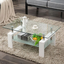 Modern Side Coffee Table Glass Top wShelf Living Room Furniture Rectangle White $89.99