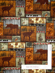 Moose Elk Mountain Pines Patch Rustic Cotton Fabric David Textiles By The Yard $8.95