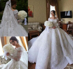 Princess Luxury Lace Wedding Dresses Off the Shoulder Church Formal Bridal Gown