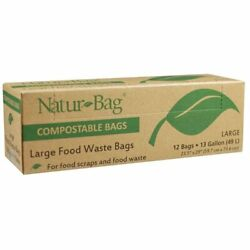 Natur Bag Large Food Waste Compostable Bags 13 Gallon 12 Bags New $11.01