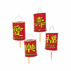 Red Chinese Hanging Paper Lanterns Party Decor 6 Pieces $11.65