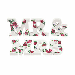 Mr. amp; Mrs. Tabletop Floral Sign Set Home Decor 3 Pieces $16.95