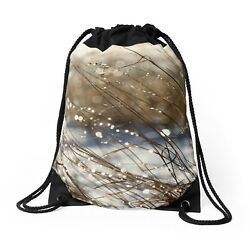 DRAWSTRING BACKPACK SHOULDER BAG #x27;Nature#x27;s Bling#x27; ...Glittering Meadow Grass $45.00