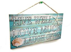 Seashells Live Well Love Much Laugh Often Beach Sign Plaque 5quot;x10quot; $12.99