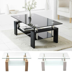 Modern Rectangle Cocktail Coffee Table Glass amp; Wood Living Room With Lower Shelf $89.99