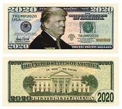 50 Pack Donald Trump 2020 Re Election Presidential Novelty Dollar Money Bills $12.95