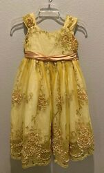 Princess Kloset Cute Yellow Sparkle Sequin Pageant Party Dress Girl 6 $25.99