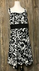 Maurices Womens 20 White Black Floral Sun Dress Spring Easter