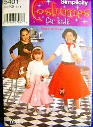 Sewing Pattern Girls Poodle Skirt Costume Halloween Play Sz 7 14 Simplicity 5401 $9.98