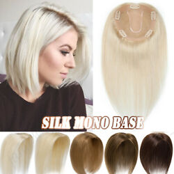 Clip In Women Topper Hairpiece Wig Real Remy Human Hair Silk Mono Base Natural $32.93