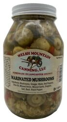 AMISH MARINATED MUSHROOMS 100% Natural 32 oz Quart Jars Homemade Lancaster USA $29.97