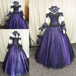 Black Purple Gothic Wedding Dresses Vintage Steampunk Halloween Vampire Gown