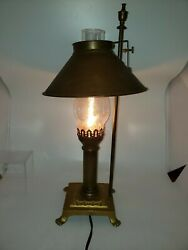 Antique Copper Brass Lamp Adjustable Shade Glass Chimmy. Good condition works.  $45.99