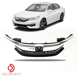 Fits Honda Accord Sedan 2016 2017 Front Upper Grille Grill Chrome $89.00