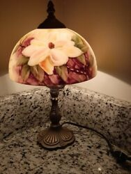 Hand Painted Floral Glass Table Desk Lamp Vintage Style $70.21