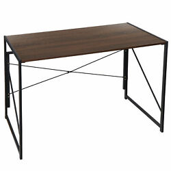 Office Foldable Table Writing Computer Desk Industrial Style Pc Laptop Table $48.99