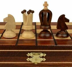 Wooden Chess Set Wood Board Hand Carved Crafted Pieces Made Folding Game Vintage $40.98