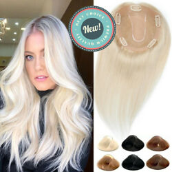 BlondeBlack Women Topper Hairpiece Wig Clip InOn Crown Real Human Hair Manual $32.93