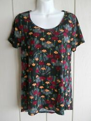Womens S LulaRoe Irma High Low Scoop Neck Short Sleeve Floral Top Bust 36