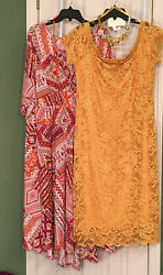 LOOK New 2X 18W 20W CJ Banks amp; Ambience Lace Dresses FREE Gorgeous Necklaces $48.00