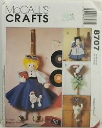 McCall#x27;s 8707 Broom Dolls Poodle Skirt Girl Angel Easter Bunny Cat UNCUT $8.95
