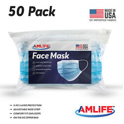 Made in USA 50 Pack Disposable Face Mask 3 Ply Dental Surgical Medical Masks $26.95