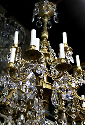 French Crystal Chandelier Bronze Chandelier with 24 Bulbs and Gemini Cut Cryst