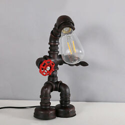 Industrial Steampunk Iron Robot Table Light Rustic Vintage Retro Pipe Desk Lamp $39.99
