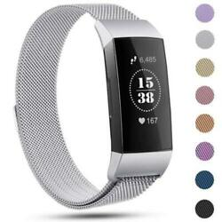 2pcs Stainless Steel Milanese Magnetic Wristband Strap For Fitbit Charge 3  4 $10.99