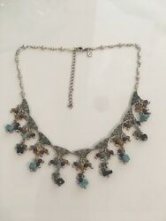 LR Natural Stone Necklace Statement Peice $11.60