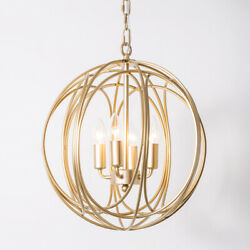 Gold Sphere 4 Light Iron Orb Chandelier Candle Style Chain Suspended Pendant $189.89