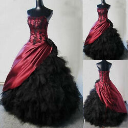 Vintage Black Burgundy Ball Gown Gothic Wedding Dresses Halloween Ruffle Tulle