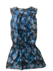 Okaidi France Designer Girls Floral Dress Teal Charcoal Grey Sz 10 EUC