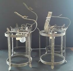 Lot of 4 Antique Late 1800#x27;s Wrought Iron Chandeliers Old Saloon Lighting Lamps $550.00