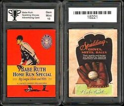 Babe Ruth Spalding Glove Advertising Promo Rp Card Graded Gem Mint 10 $19.95