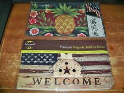 Lot Of 2 Magnetic Mailbox Covers Country Primitive Welcome Flag Pineapple $27.99