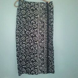 Liz & Co Floral Long Skirt Wrap Around Hippie Women black white size 12 pencil $25.25