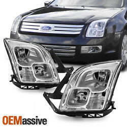 Fits 2006-2009 Ford Fusion Factory Style Chrome Headlights Replacement Full Set